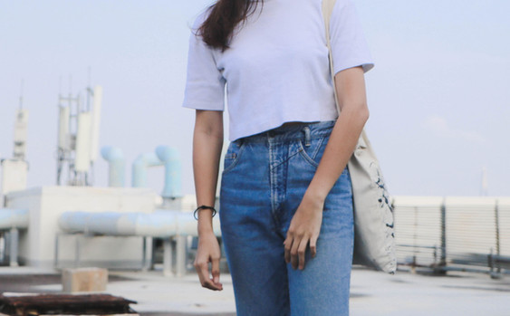Girl in Denim and White T-shirt