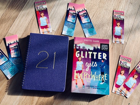 Head to Twitter for a chance to win a signed advanced reader copy of Glitter Gets Everywhere + more!