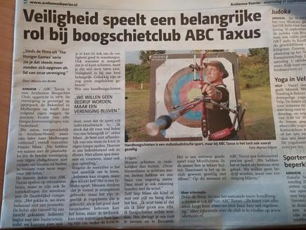 Artikel over ABC Taxus in de Arnhemse Koerier
