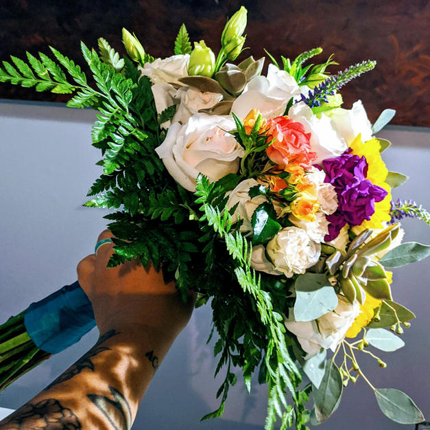 Sweet and colorful bridal bouquet