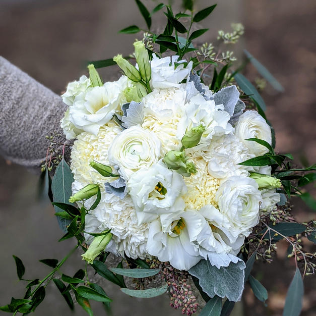 Beautiful all white and green bridal bouquet