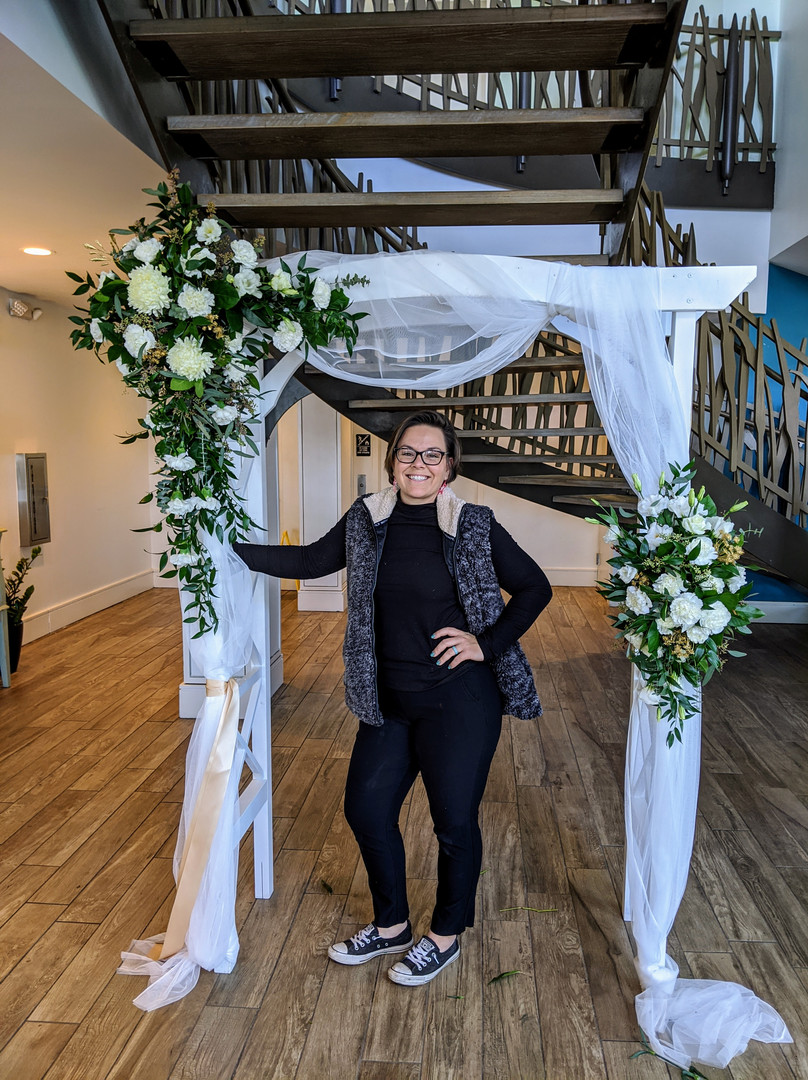 All white wedding altar