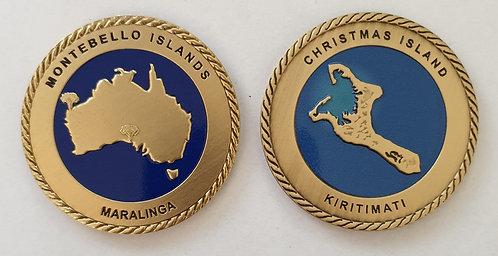 Set of 2 Christmas Island & Maralinga Challenge Coins