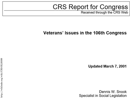 Congressional Research Service - Veterans Issues 2001