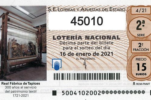 SORTEO 4/21 Nº45010
