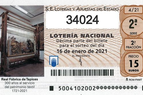 SORTEO 4/21 Nº34024