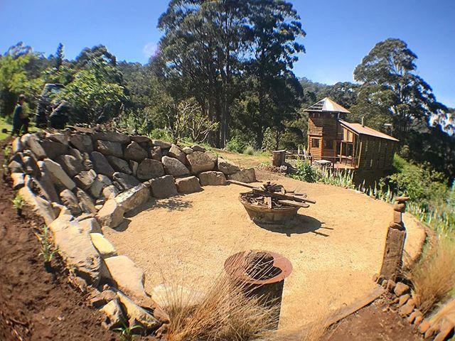 Ridgeway project fire pit #vandiemenslandscapes #landscapedesign #firepit #gardendesign #tasmanianga