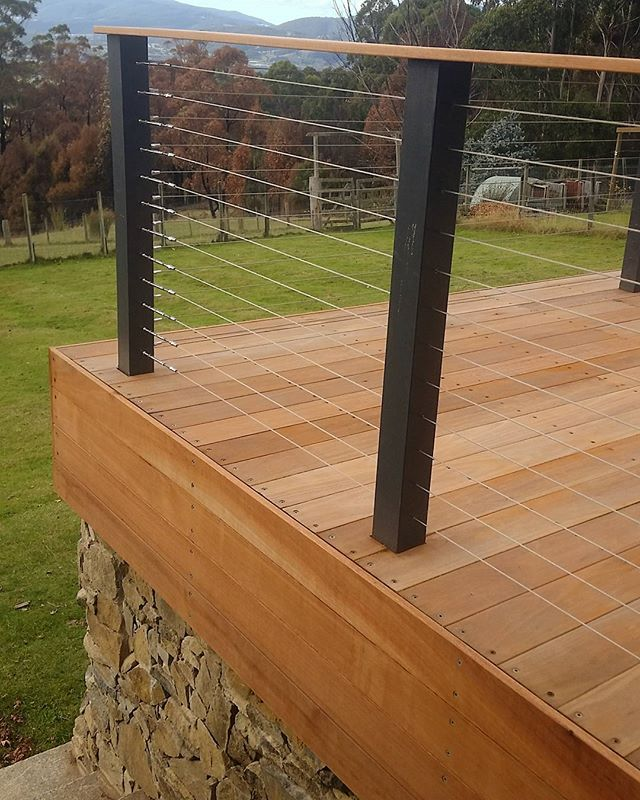 Deck detail at our Clouds End project #vandiemenslandscapes #deck #stonewall #landscapedesign #garde