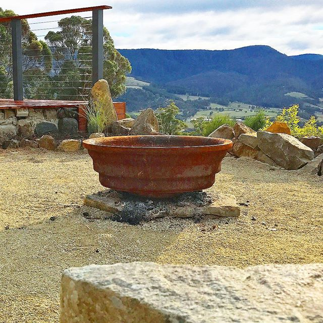 Fire pit 🔥 on our Clouds End project #vandiemenslandscapes #firepit #tasmaniangardens #landscapedes