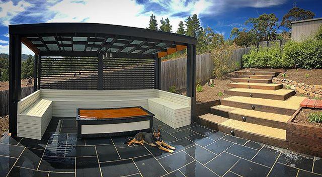 Joshua Street project #vandiemenslandscapes #landscapedesign #gardendesign #pergola #blacklimestone
