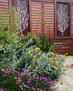 Ruth's Coastal Courtyard in Bellerive #vandiemenslandscapes #natives #corten #gardenscreen #landscap