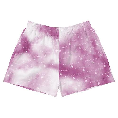 Berry Pink Tye-Dye Women's Athletic Short Shorts