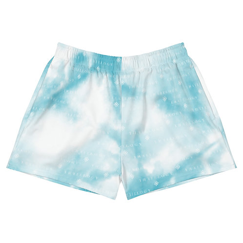 Raspberry Blue Tye-Dye Women's Athletic Short Shorts