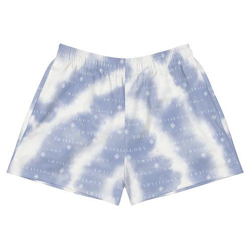 Faded Blue Tye-Dye Women's Athletic Short Shorts
