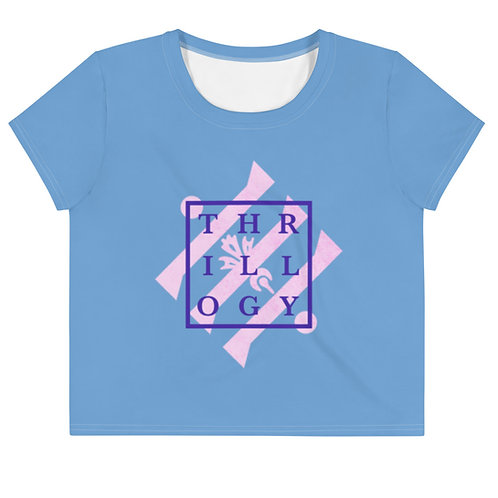 Perry Blue Tye-Dye Square Logo Crop Tee