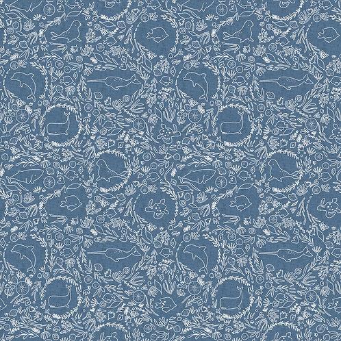 Tissu Denim Under the sea x10cm
