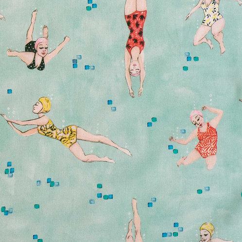 Tissu Popeline de Coton Swimming x10cm