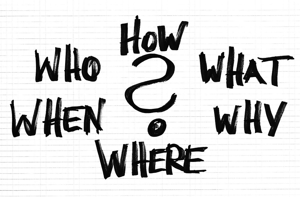 handwriting that says how, what, why, where, when, and who