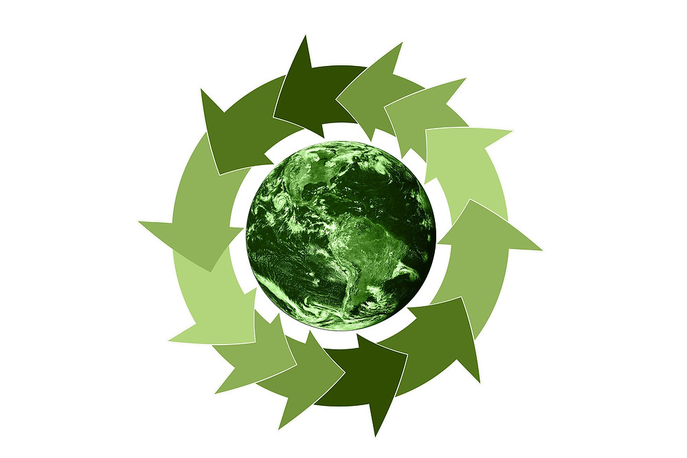 Green planet with arrows