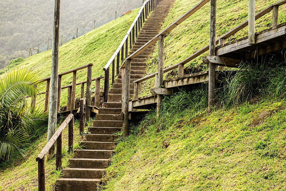 long staircase in the hillside
