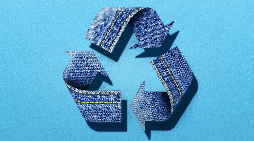 Recycle icon made of denim