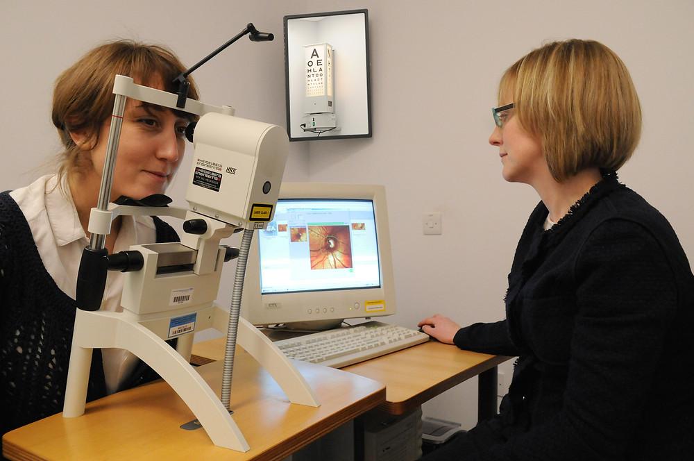 A patient undergoing an eye scan - credit: University Hospitals Birmingham NHS Foundation Trust