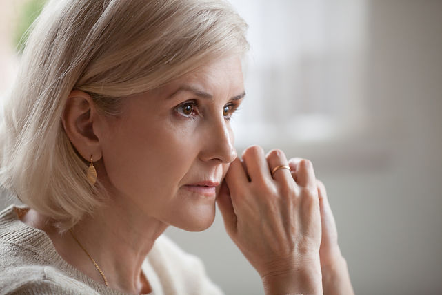 Depressed Anxious woman worrying