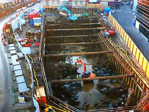 Temporary works, temporary sheet piling and dewatering