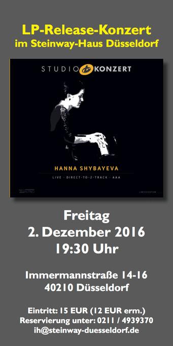 Release Party Studio Konzert December 2d in Steinway Haus Düsseldorf!