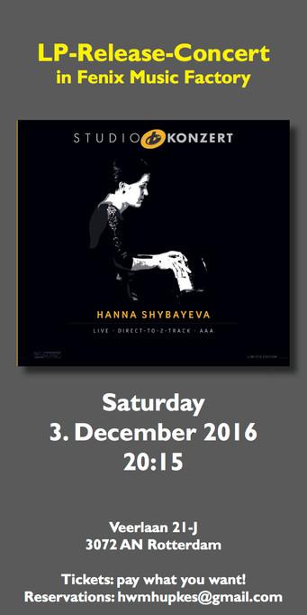 Release Party Studio Konzert December 3d in Rotterdam!