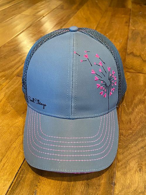 gray & pink flower trucker