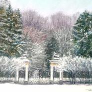 Парадные ворота зимой