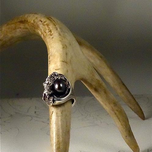 Bague - Perle noire