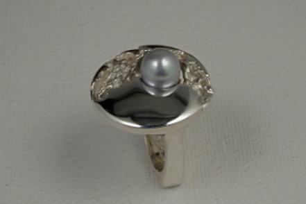 Bague - Perle grise
