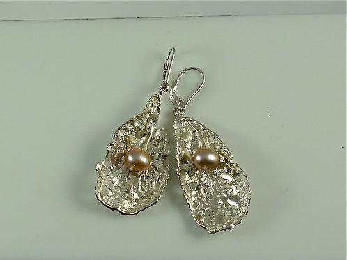 Boucles d'oreille - Végétal et perle