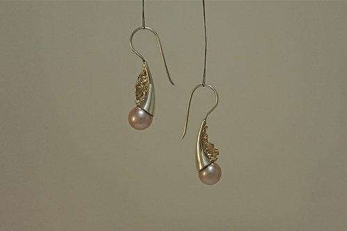 Boucles d'oreille - Végétal et  perle rose