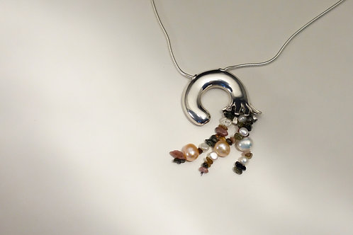 Pendentif - Cascade perles et pierres