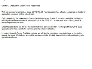 Grade 12 Graduation Ceremonies Postponed