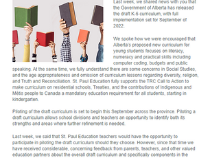 Important Update Re: Share your input on Alberta's K-6 Draft Curriculum