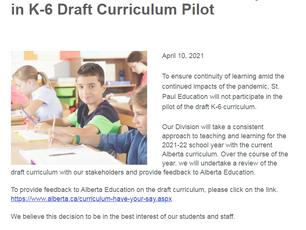 Update: K-1 Curriculum Pilot