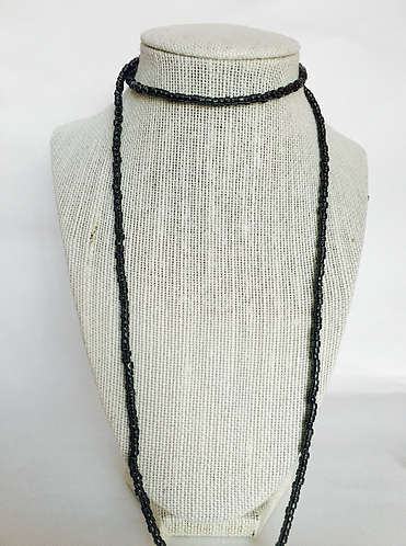ALL BLACK BEADED WRAP NECKLACE