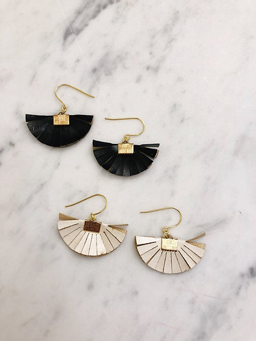 B&W FAN EARRINGS