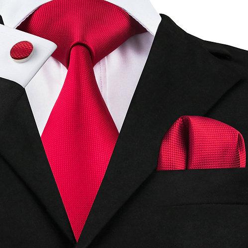 Sophisticated Red Silk Tie Set w/Cufflinks and Hankie