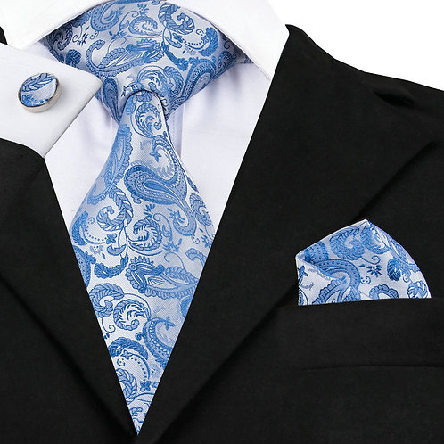 Blue and White Jacquard Woven Silk Tie Set w/Cufflinks and Hankie