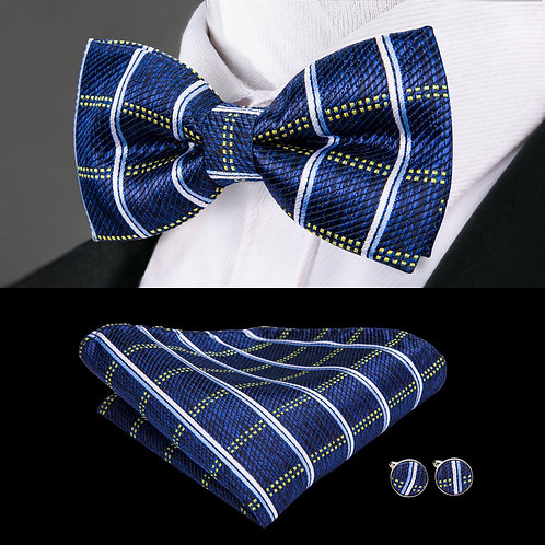 Blue with White and Yellow Stripe Silk Bow Tie w/Cufflinks and Hankie