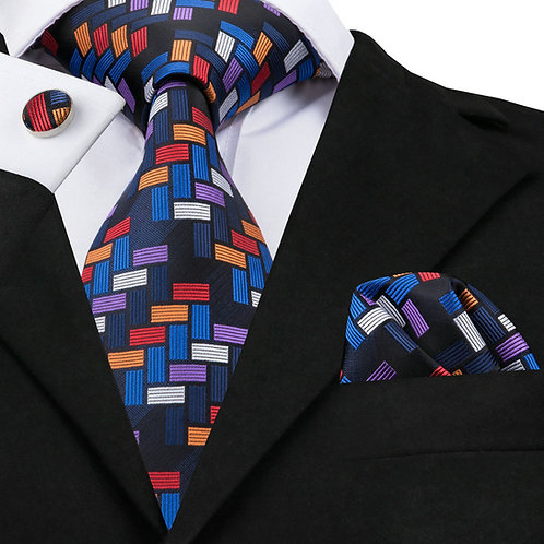 Sophisticated Rubiks Silk Tie Set w/Cufflinks and Hankie