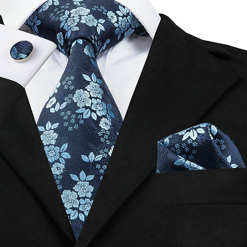 Navy and Sky Blue Floral Silk Tie Set w/Cufflinks and Hankie