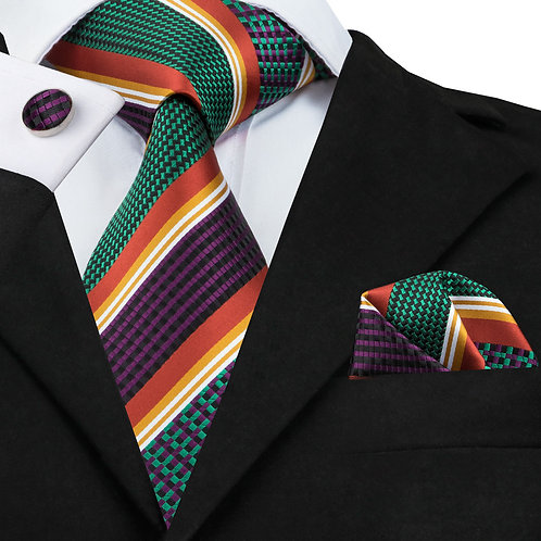 Forest Green and Orange Stripped Silk Tie Set w/Cufflinks and Hankie