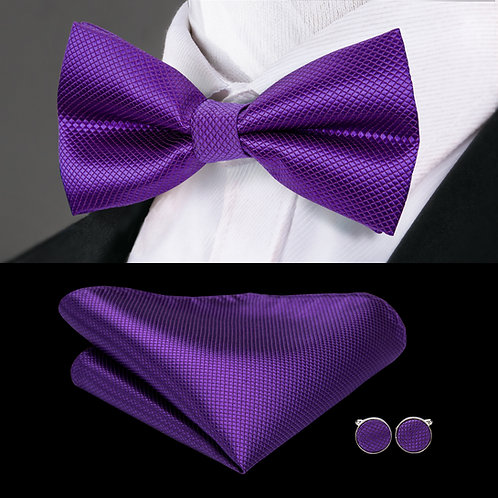 Royal Purple Silk Bow Tie Set w/Cufflinks and Hankie