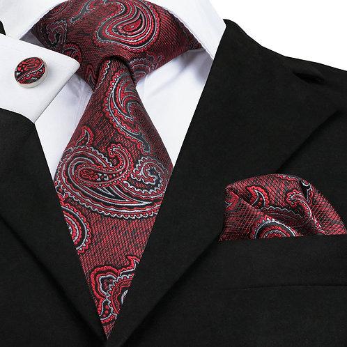 Red and Black Paisley Print Silk Tie set w/Cufflinks and Hankie
